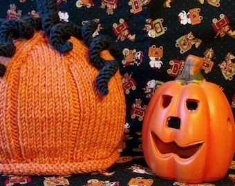 Pumpkin hat, knitted, for children 3/6 months
