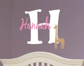 Personalized, Giraffe, Name, Initial, Baby, Children, Boy, Girl, Nursery, Bedroom, Home, Decor, Animal