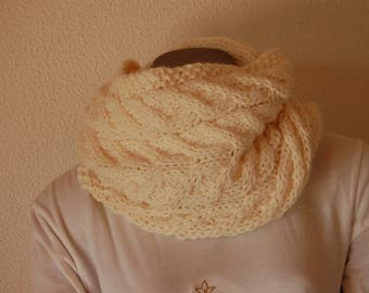 Snood handknitted in color white cream or off-white