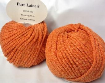 Chunky wool / set of 10 balls 8 Orange Tweed/made in FRANCE pure wool
