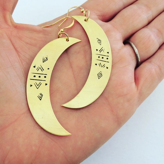 Hekate Goddess Crescent Moon Earrings - Myth - Gold - Gypsy - Bohemian - Divine Feminine - Festival - Mysticism