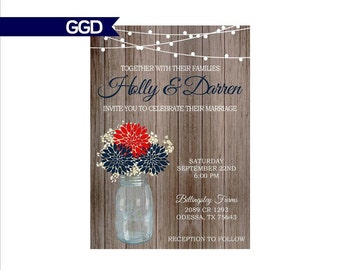 Red White and Blue Wedding Invitation on Wooden Background, rustic wedding invitation, patriotic wedding invite, july 4th wedding invite