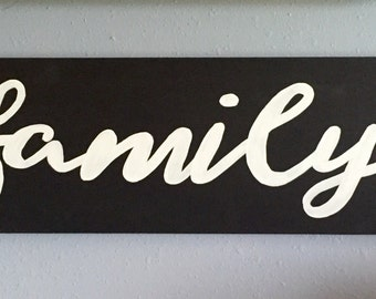 Family wooden sign, Handpainted wall art, Familh Gallery Wall Sign