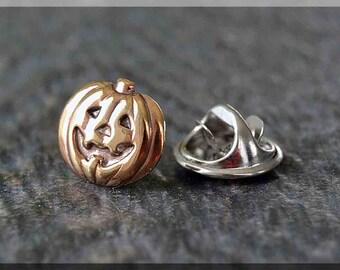 Brass Pumpkin Tie Tac, Lapel Pin, Jack O Lantern Brooch, Gift for Him, Gift Under 10 Dollars, Tie Tack, Halloween Accessory, Unisex Pin