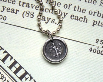 Aquarius wax seal necklace, Mens necklace, Mens pendant, King Neptune, Zodiac, For her, Horoscope, Astrology, Fine + Sterling silver