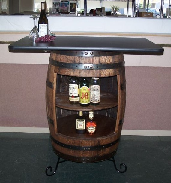 Whisky-Fass-Bar-Tisch-Schrank mit schmiedeeisernen