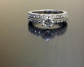 14K White Gold Diamond Engagement Ring - 14K Gold Diamond Engagement Band - 14K Diamond Wedding Ring - 14K Diamond Wedding Band - Bridal Set