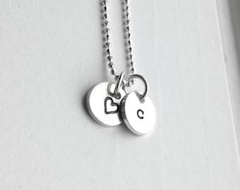 Letter c Necklace, Tiny Heart Necklace, Initial Necklace, Personalized Jewelry, Charm Necklace, Sterling Silver Jewelry, All Initial Avail.