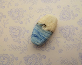 lampwork glass blue and ivory focal bead, uk handmade