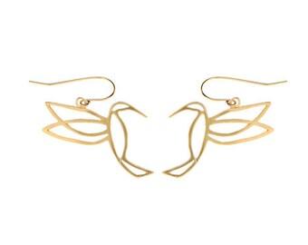 Delicate Earrings, Plated Gold Dangle Earrings, 925 Silver Drop Earrings, Hummingbird Jewelry, Nature Inspired, Elegant Earring, Hummingbird