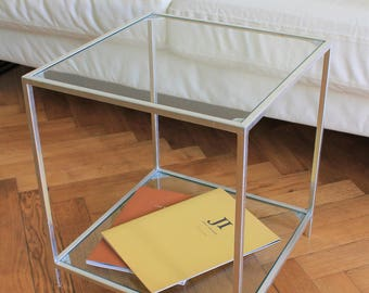 "Glass Side Table ""Florenc"" - Bedside Table - Glass Coffee Table - Glass Table - Accent Table."