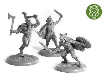 28mm wargaming and collectible miniature, Vikings Berserkir - by Zolotoy Dub-