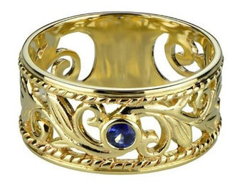 R067 Genuine 9K, 10K, 14K, 18K SOLID Yellow Rose or White Gold NATURAL Sapphire Wide Filigree Band Ring