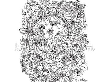 instant digital download - adult coloring page - flower designs