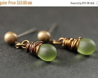 MOTHERS DAY SALE Bronze Earrings - Clouded Green Teardrop Earrings. Dangle Earrings. Post Earrings. Handmade Jewelry.