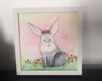 Hipster Bunny - Original watercolor painting