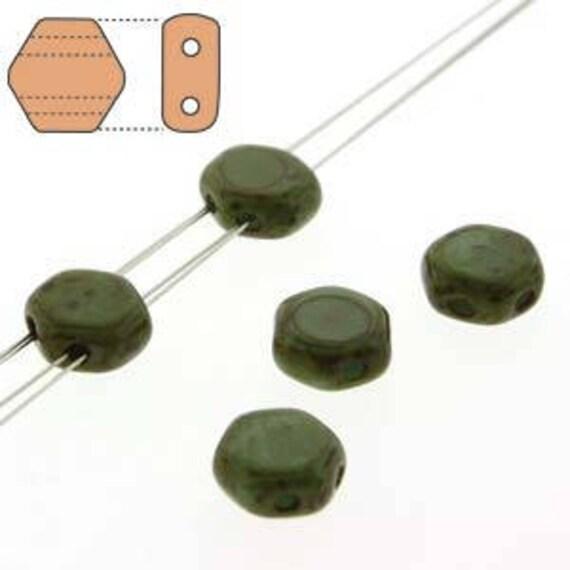 30 x 6mm Czech Honeycomb Beads Turquoise Dark Travertine