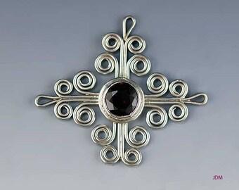 Elegant Sterling Silver Filigree Red Garnet Pendant