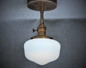 Semi Flush Light Fixture w/ School House Milk Glass Globe and Down Rod - Antique Reproduction Fixtures - Hand Finished Brass