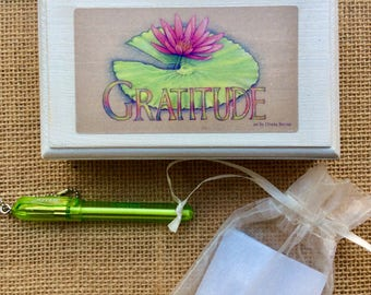 GRATITUDE BOX, Daily Gratitude; prayer box; Lotus art;handmade gift for daughter, niece, friend;dream box; gift for Mom