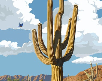 Arizona - Saguaro and Roadrunner (Art Prints available in multiple sizes)
