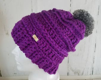Cassie Beanie with POM-POM.Ready to Ship//VIOLET Purple Beanie//Over-sized Pom Pom//Crochet Beanie//Knit Beanie//Super Soft