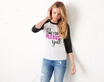 It's Time For Plexus Y'all 3/4 Sleeve Unisex Black Baseball Tee