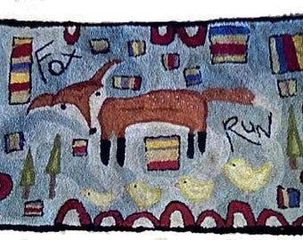 Primitive Punch Needle Needlepunch Rug Hooking Hooked Fox Chicks Wall Hanging PDF Epattern Download Pattern Hickety Pickety