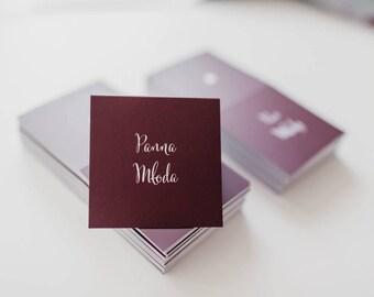 Wedding place cards / Burgundy wedding / Marsala seating card / Purple name cards / Maroon card / Minimalist placecards / Autumn wedding /