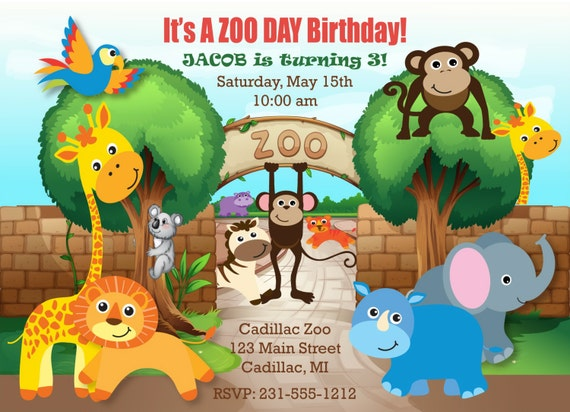 Printable safari zoo birthday invitation zoo invitation like this item stopboris Choice Image
