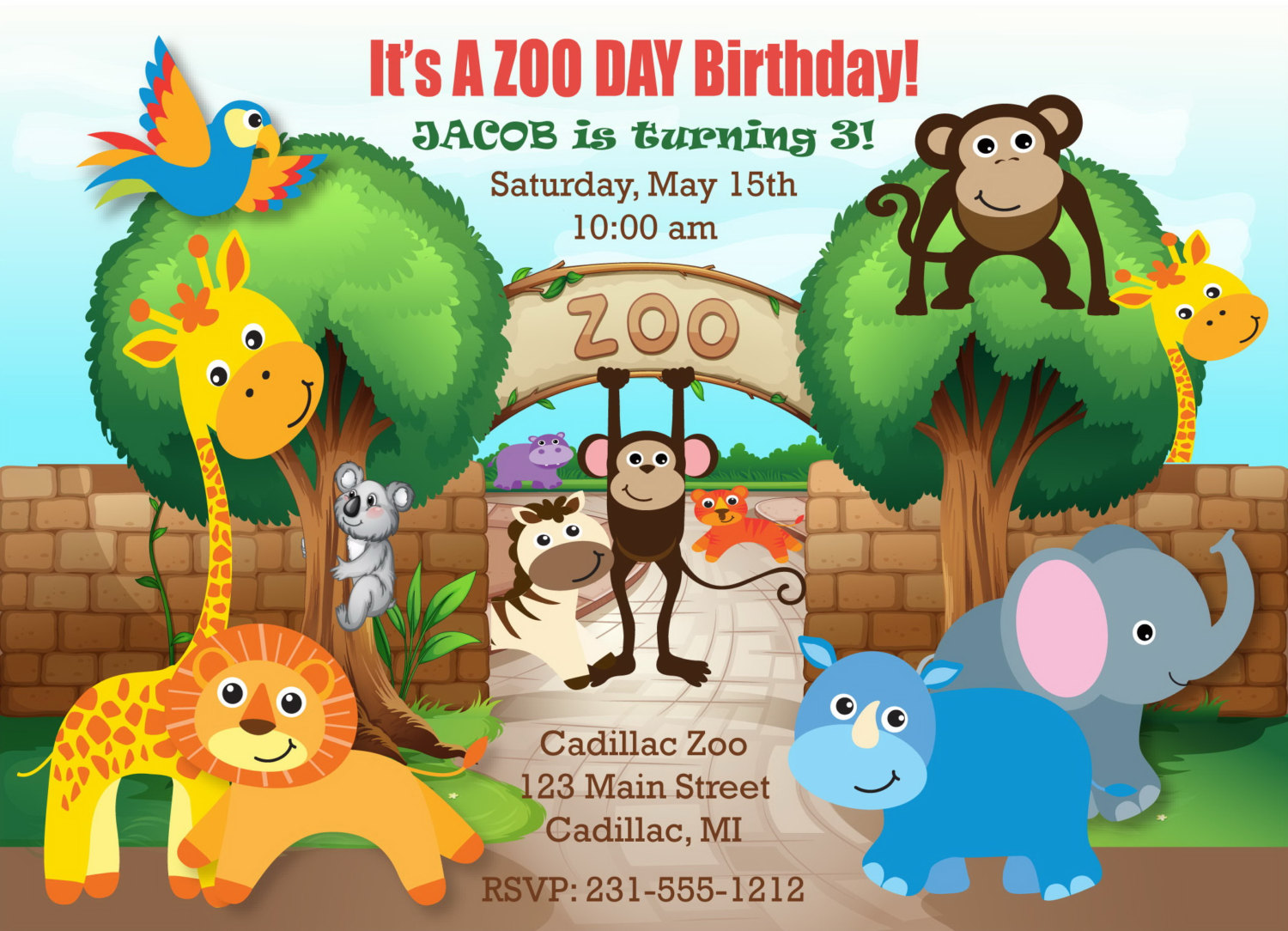 Printable Safari Zoo Birthday Invitation Zoo Invitation
