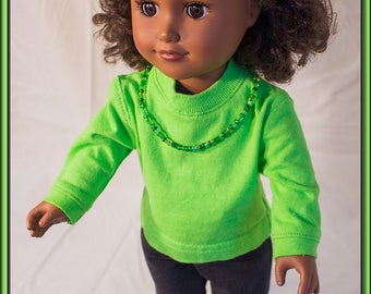 "Neon Green Shirt for American Girl Doll & Other 18"" Style Dolls! Comes with Black Jeans w Designer Pocket and Shiney Silver Mary Jane Shoes!"