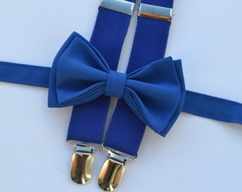 Royal Blue Bow Tie & Royal Blue Suspenders for Baby Toddler Boy