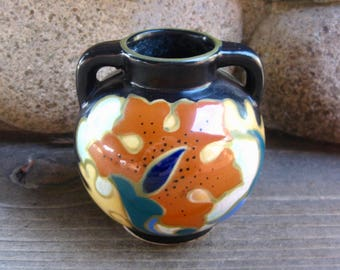 Gouda Style Pottery Vase, Vintage 1930s, Made in Japan, Art Deco Style, Stocking Stuffer, FREE SHIPPING