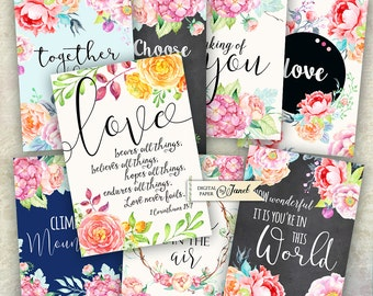 Quote Cards 01 - digital collage sheet - set of 8 - Printable Download - Watercolor Flower