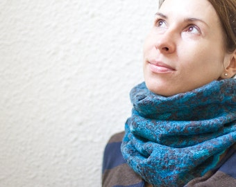 Nuno Felt Cowl Lace Scarf Versatile Neckwarmer Sky Blue Turquoise Chocolate brown Lace modern minimalist