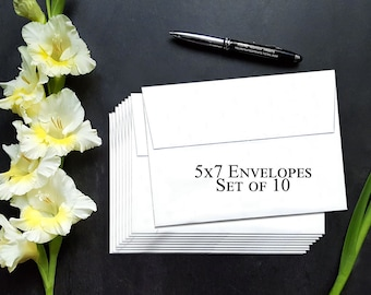 "A7 white envelopes, 5""x7"" envelopes, Set of 10, Optional Name/Address Printing"
