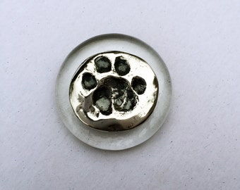 Paw Print Memorial, Custom Paw Print, Silver Paw Print, Dog or Cat Custom Print, Personalized Paw Print, Paw Print Paperweight