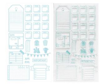 Months & Reminder Clear Stamps - Transparent stamp, Journal, Planner, Craft, Traveler Notebook