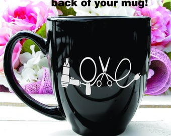 Deep Engraved Love Hairdresser Coffee Mug of Glass of Choice. Personalized Hairdresser Gift. Hairstylist Mug