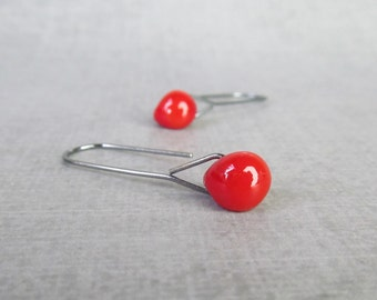Poppy Red Minimalist Dangles Oxidized Silver, Red Earrings, Lampwork Earrings Red Glass, Sterling Silver Oxidized Earrings, Glass Earrings
