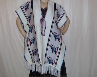 Blue Bird Poncho Sweater 1970s Fringe Vintage Lagen Look Duster Cape Knit Hippie Boho Cream Soft Acrylic Adult S-XL Bird Enthusiast Poncho