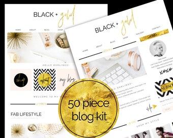 50 Piece Web / Blog Kit / Branding Kit / Blogger Kit / Social Buttons / Homepage Tabs / Black & Gold / Blog Design Kit / Blog Graphics