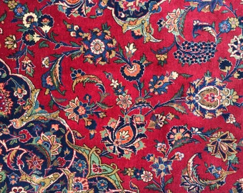 Fine Persian Kashan Rug 9x12 Vintage 1950 Traditional Oriental Rug