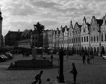 A Sunny Afternoon in Telc - traditional black and white photograph, 8x10 paper, bohemia photography
