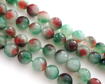 """Mix Green Brown Beads - Round Agate Beads - Faceted Agate Gemstone Beads - Side Drilled Beads - 10mm - 16""""- Diy Women Jewelry Making"""