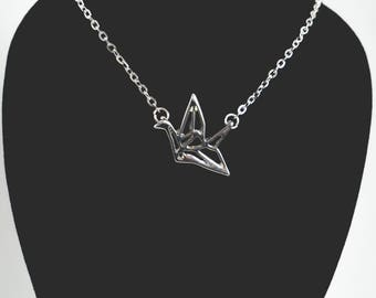 Origami Paper Crane Necklace, Paper Crane Charm Necklace, Silver Origami Crane Necklace, Origami Necklace, Crane Charm Necklace