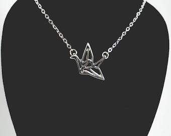 Origami Paper Crane Necklace, Paper Crane Charm Necklace, Silver Origami Crane Necklace, Origami Necklace, Crane Charm Necklace