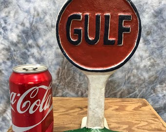 Gulf Doorstop Cast Iron Gas Station Pump Advertising Display Sign Paperweight c, Advertising Sign, Doorstop, Home Decor