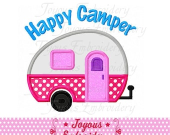 Instant Download Happy Camper Applique Machine Embroidery Design NO:2301